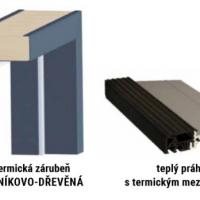Hliníkovo dřevěná termická zárubeň plus teplý práh